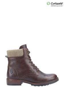 Cotswold Brown Minety High Top Lace-Up Ankle Boots