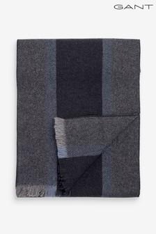 GANT Mens Grey Striped Wool Scarf