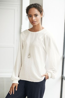 Long Sleeve Fill Coupe Smock Shoulder Blouse