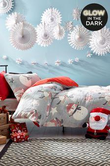 Grey Glow In The Dark Fleece Christmas Duvet Cover and Pillowcase Set