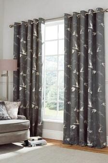 Laura Ashley Grey Animalia Eyelet Curtains