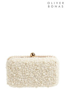 Oliver Bonas Dana Faux Pearl White Rectangular Box Clutch Bag