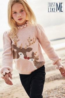 Pullover für Kinder mit Rentiermotiv und pailletten (Familienkollektion) (3-16yrs)