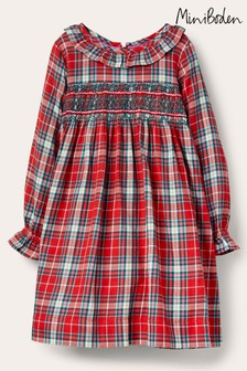 Boden Red Check Smocked Dress