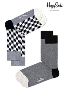 Lot de deux paires de chaussettes Happy Socksgris/blanc