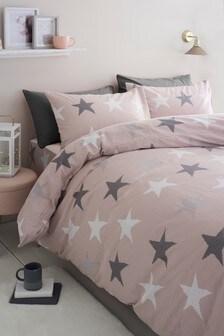 Juego de funda de edredón y funda de almohada de punto de algodón cepillado con estrellas