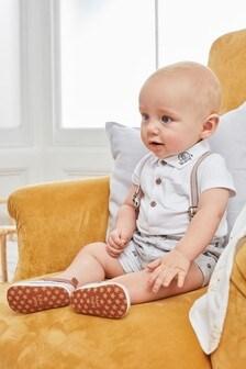סט 3 חלקים מחויט בגד גוף, מכנסייםקצריםושלייקסעם דוגמת פיל (3 חודשים עד גיל 2)
