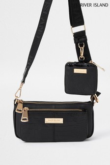 River Island Black Underarm Side Comp Bag