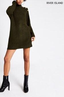 River Island Khaki Caine Button Shoulder Jumper Dress