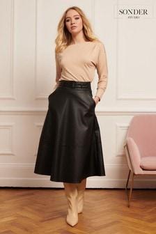 Sonder Studio Black Belted PU Midi Skirt