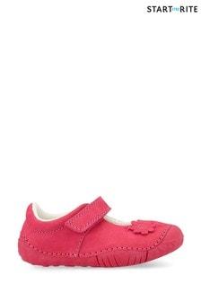 Zapatos rosas de nobuk de bebé con pétalos de Start Rite
