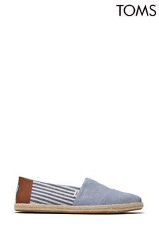 Темно-синие туфли из ткани шамбре с полосатыми вставками и плетеной окантовкой TOMS Alpargata