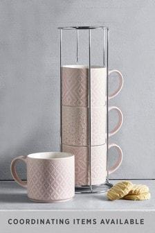 Geo Set of 4 Stacking Mugs Embossed