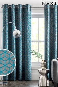 Сине-зеленые/синие шторы с флоковым геометрическим узором и люверсами