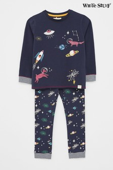 White Stuff Navy Kids Find Me In Space Jersey Pyjama Set