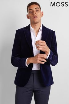 Veste Moss London bleue habillée en velours coupe skinny