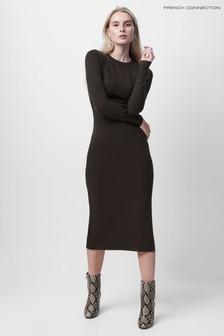 שמלה עם צווארון מעוגל של French Connection דגם Babysoft בשחור
