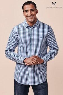 Chemise Crew Clothing Company bleue à col ras du cou et carreaux vichy