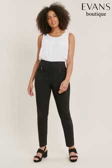 Evans Black Curve Stretch Tailored Trousers