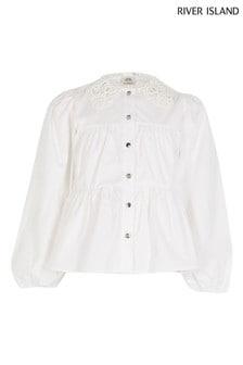 River Island Gestuftes Hemd mit Spitzenkragen, Weiß