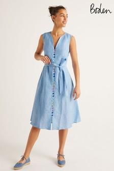 Niebieska lniana sukienka Boden Cecilia