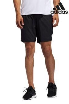 adidas Black Own The Run 3 Stripe Shorts