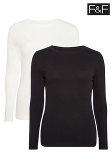 F&F Ivory Long Sleeve T-Shirts Two Pack
