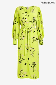 River Island Lime Waisted Midi Dress