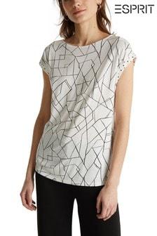 חולצה אלגנטית עם עיטורי שרוול של Esprit בבז'