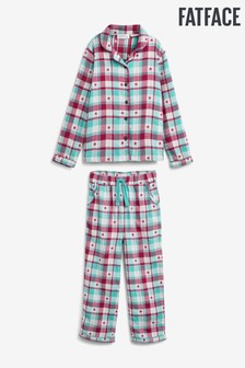 FatFace Green Star Check Classic Pyjama Set