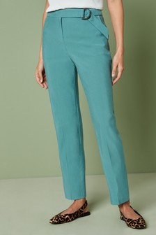 Slim Fit Belted Trousers