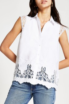 River Island White Broderie Trim Sleeveless Blouse