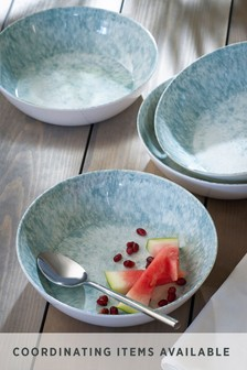 Set of 4 Teal Reactive Print Melamine Bowls