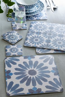 4 Tile Print Placemats And Coasters Set