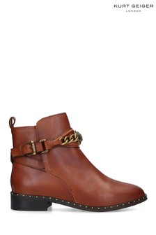 Kurt Geiger London Tan Chelsea Jodhpur Leather Ankle Boots
