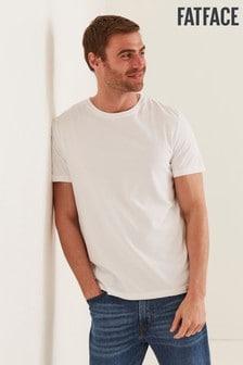 חולצת טי עם צווארון עגול של FatFace דגם Lulworth בלבן