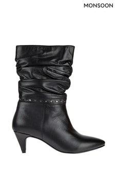 Черные кожаные мешковатые полусапожки с заклепками Monsoon