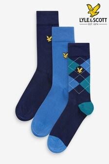 Lot de trois paires de chaussettes Lyle & Scott bleu marine, à losanges et unies