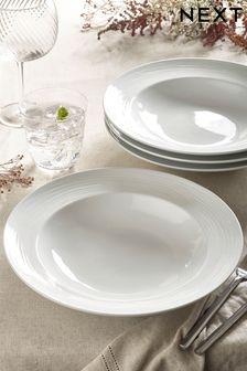 White Malvern Embossed Set of 4 Pasta Bowls