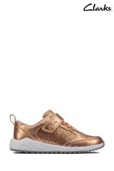 Clarks Copper Leather Aeon Flex Trainers