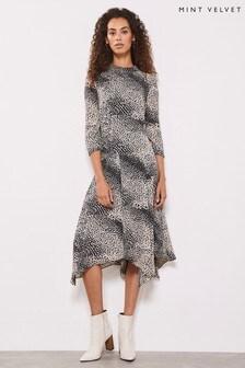 Mint Velvet Natural Elora Print Trapeze Dress