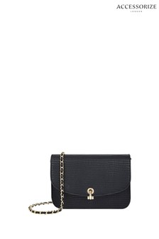 Accessorize Black Edie Croc Cross Body Bag