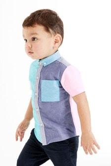 Оксфордская рубашка с коротким рукавом (3 мес.-7 лет)