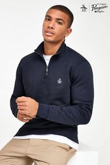 Original Penguin® ブルー クォータージップ ロゴ スウェットシャツ