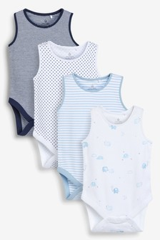 4 Pack Elephant Vest Bodysuits (0mths-3yrs)
