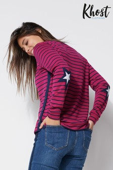 Khost Star Elbow Patch Striped T-Shirt