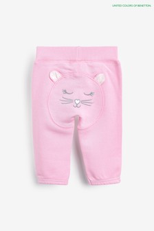 מכנסי טרנינג שלBenetton בצבע ורוד עם עיטור דובי