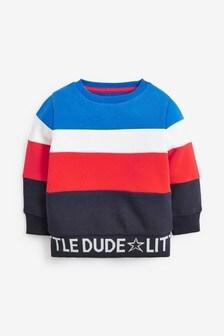 Трикотажный свитер с круглым вырезом в стиле колор-блок (3 мес.-7 лет)
