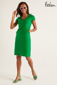 Boden Green Saskia Jersey Trim Dress