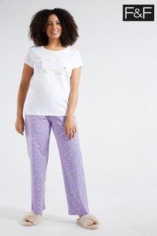F&F White Wild Pyjama Pack